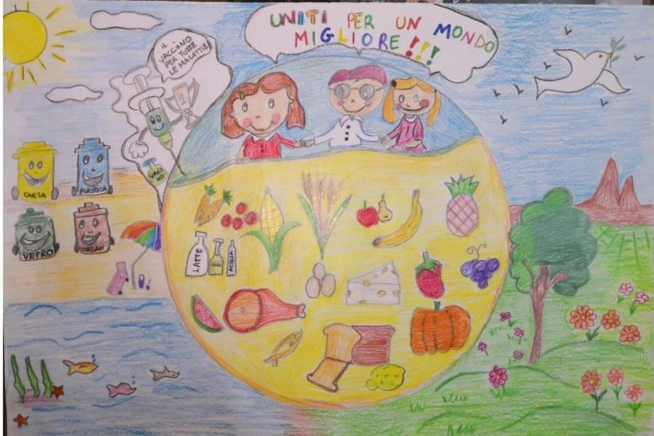 Uno dei duemila elaborati creativi dei bambini che hanno partecipato al progetto 'Ora di Futuro'