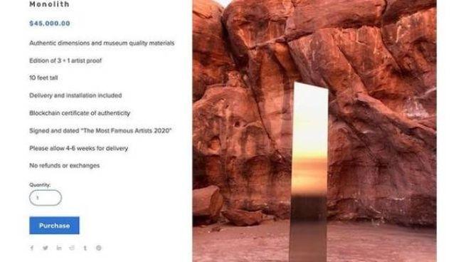 Copie del monolite del deserto dello Utah in vendita
