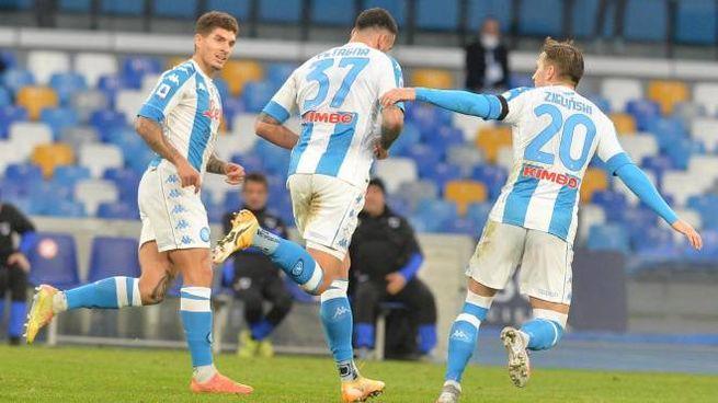 Napoli-Samp 2-1: l'esultanza di Petagna e compagni (Ansa)