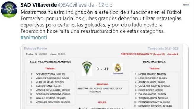 Il tweet del SAD Villaverde