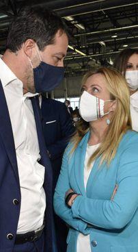 Il leghista Matteo Salvini, 46 anni, e Giorgia Meloni (Fd'I) , 43 anni