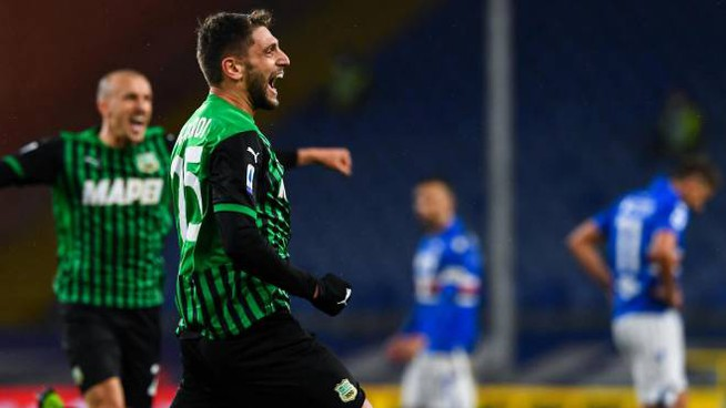 Sampdoria Sassuolo, l'esultanza di Berardi (Foto Ansa)