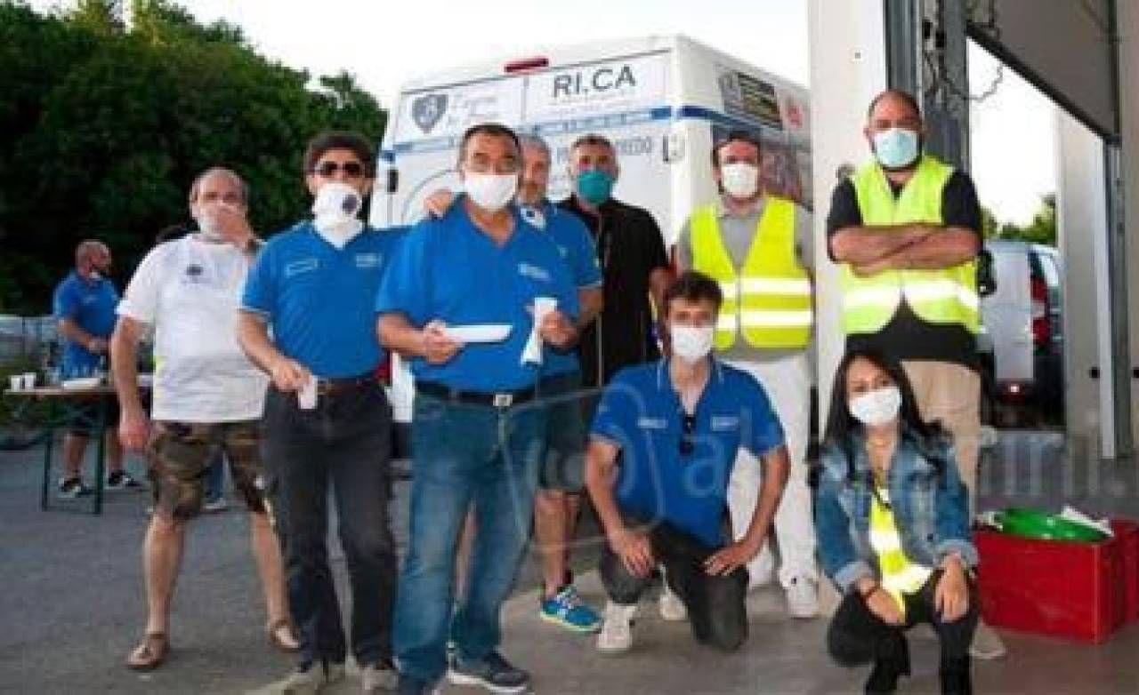 Alcuni dei quasi cinquanta volontari della Protezione civile bellariese