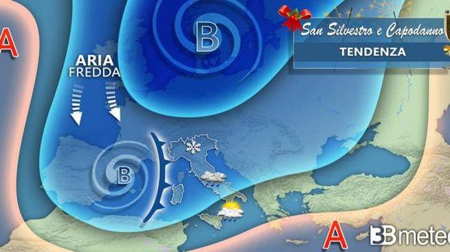Previsioni meteo Capodanno:  il grafico di 3B Meteo