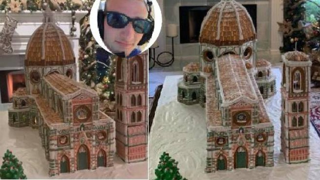Il Duomo realizzato con il pan di zenzero. Nel riquadro l'autore