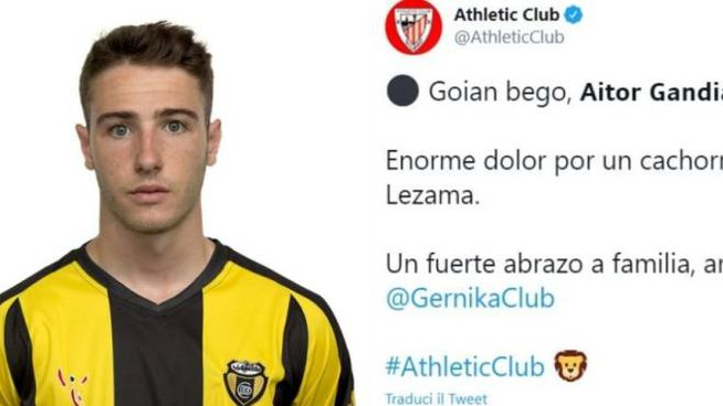 Aitor Gandiga, il saluto dell'Athletic club
