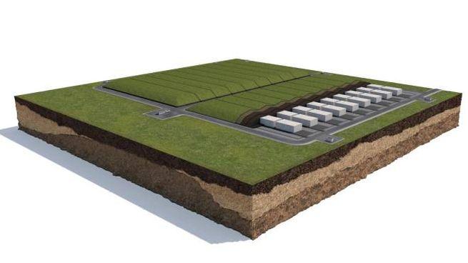 Il rendering del progetto del deposito nazionale di rifiuti radioattivi (Ansa)