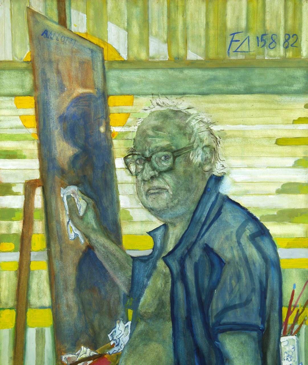 Un autoritratto di Friedrich Dürrenmatt (1921-1990. ), scrittore e pittore