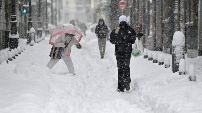 Neve a Madrid (Ansa)