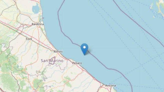 Terremoto sulla costa pesarese (foto Ingv OpenStreetMap)