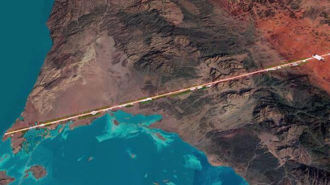 Il progetto della città The Line, in Arabia Saudita - Foto: screenshot YouTube/NEOM