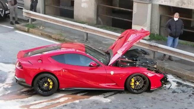 La Ferrari diFederico Marchetti distrutta dopo l'incidente