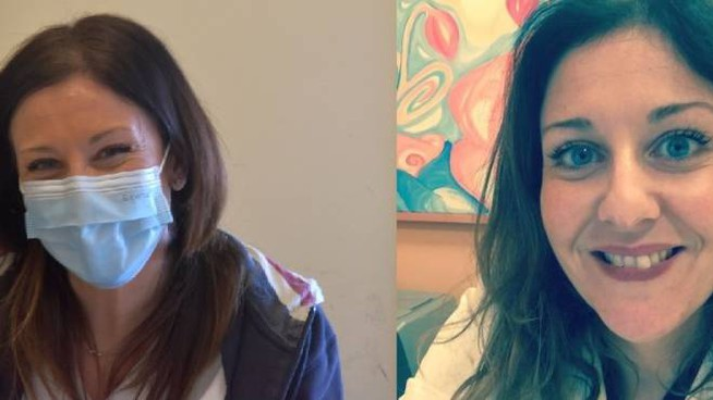 Silvia Peruzzi con mascherina e senza