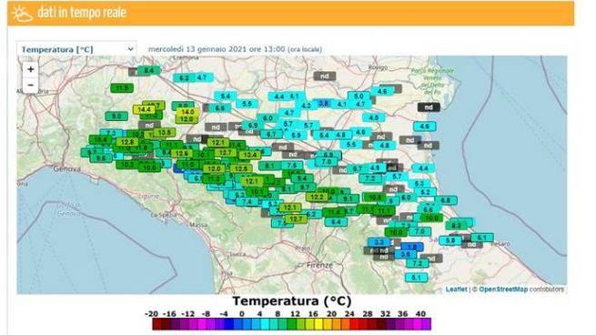 I dati delle temperature stanno per crollare in Emilia Romagna