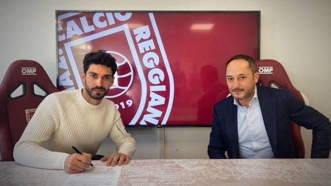 Lorenzo Del Pinto (a sinistra) con il presidente della Reggiana, Carmelo Salerno