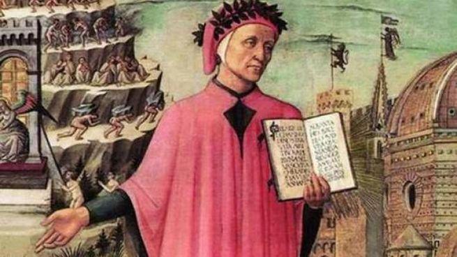 Una raffigurazione di Dante Alighieri (1265-1321), autore della Divina Commedia, uno dei capolavori della letteratura mondiale