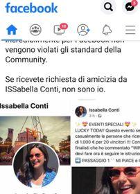 Il finto profilo Facebook della sindaca Isabella Conti. I pirati informatici hanno inviato i link creando così una 'catena di Sant'Antonio' per diffondere un virus