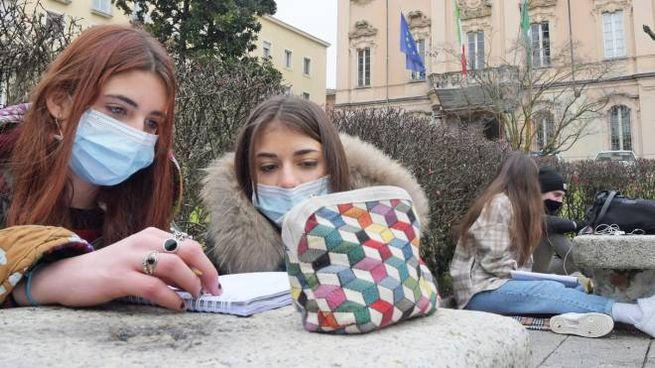 Pavia, la protesta degli studenti collegati online davanti al liceo (Ansa)