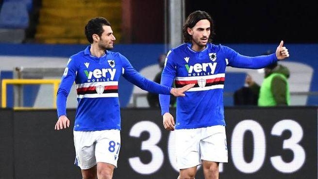 Candreva e Torregrossa, autori dei gol della Sampdoria contro l'Udinese (Ansa)