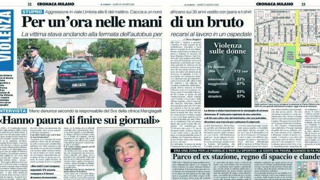 """L'articolo de """"Il Giorno"""" sulla rapina con stupro pubblicato il 21 agosto 2006"""