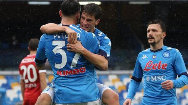Napoli-Fiorentina: l'esultanza di Demme (Ansa)