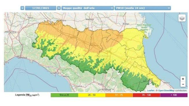 Emilia Romagna, la mappa della qualità dell'aria (fonte Arpae)