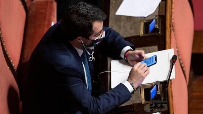 Salvini in Senato (Ansa)