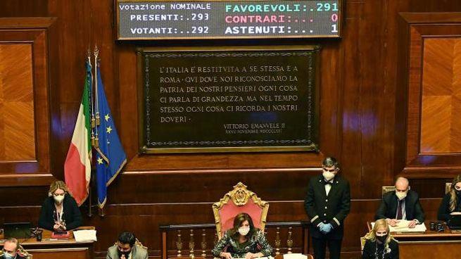 L'Aula del Senato, dove ieri è passato all'unanimità l'ok allo scostamento di bilancio da 32 miliardi di euro