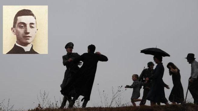 Una scena del film 'L'uomo che verrà', nel riquadro don Fornasini
