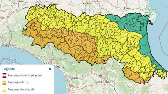 Allerta meteo 'arancione' e 'gialla' per il 22 gennaio in Emilia Romagna (Openstreetmap)
