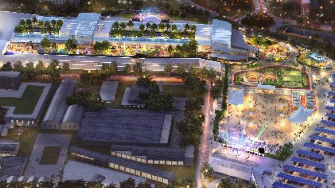 Il render del maxi centro commerciale che dovrebbe sorgere