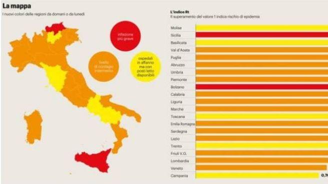 Marche Cartina Italia.Italia A Zone Ecco Le Regioni Che Cambiano E Le Regole Pdf Cronaca Ilgiorno It