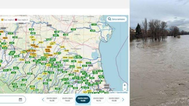 La piena dei fiumi in Emilia Romagna nel monitoraggio Arpa e il fiume Reno