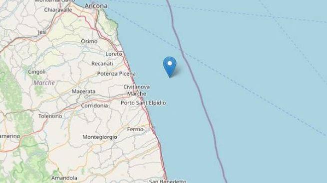 Terremoto nelle Marche, due scosse in poche ore (Fonte Ingv-OpenStreetmap)