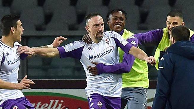 Franck Ribery dopo il gol (Ansa)