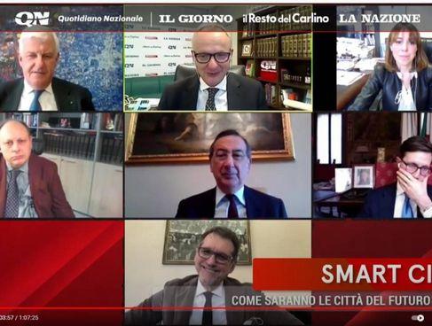 Un fermo immagine del forum online con i sindaci e i direttori di QN - il Resto del Carlino, La Nazione Il Giorno