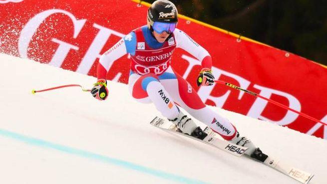 Lara Gut-Behram al SuperG di Garmisch (Ansa)