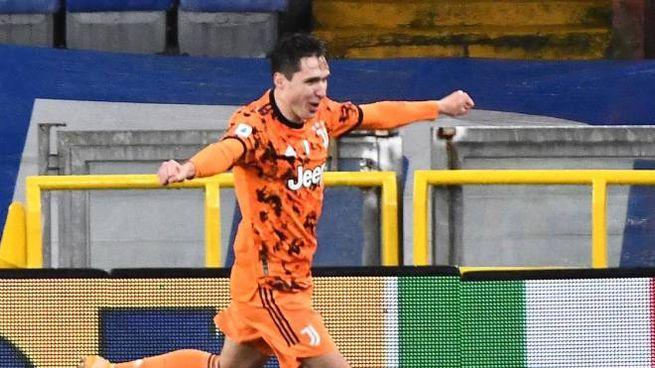 Federico Chiesa dopo il gol alla Samp. Juve avanti 0-1 alla fine del primo tempo (Ansa)