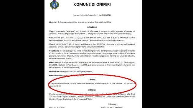 """L'ordinanza della sindaca di Oniferi: """"Vietato ammalarsi di Covid"""""""