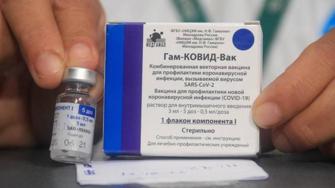 Una confezione di vaccino Sputnik V (Ansa)