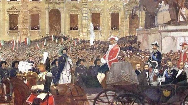 """""""Vittorio Emanuele II entra al Palazzo del Quirinale"""" di Luigi Serra, 1875"""