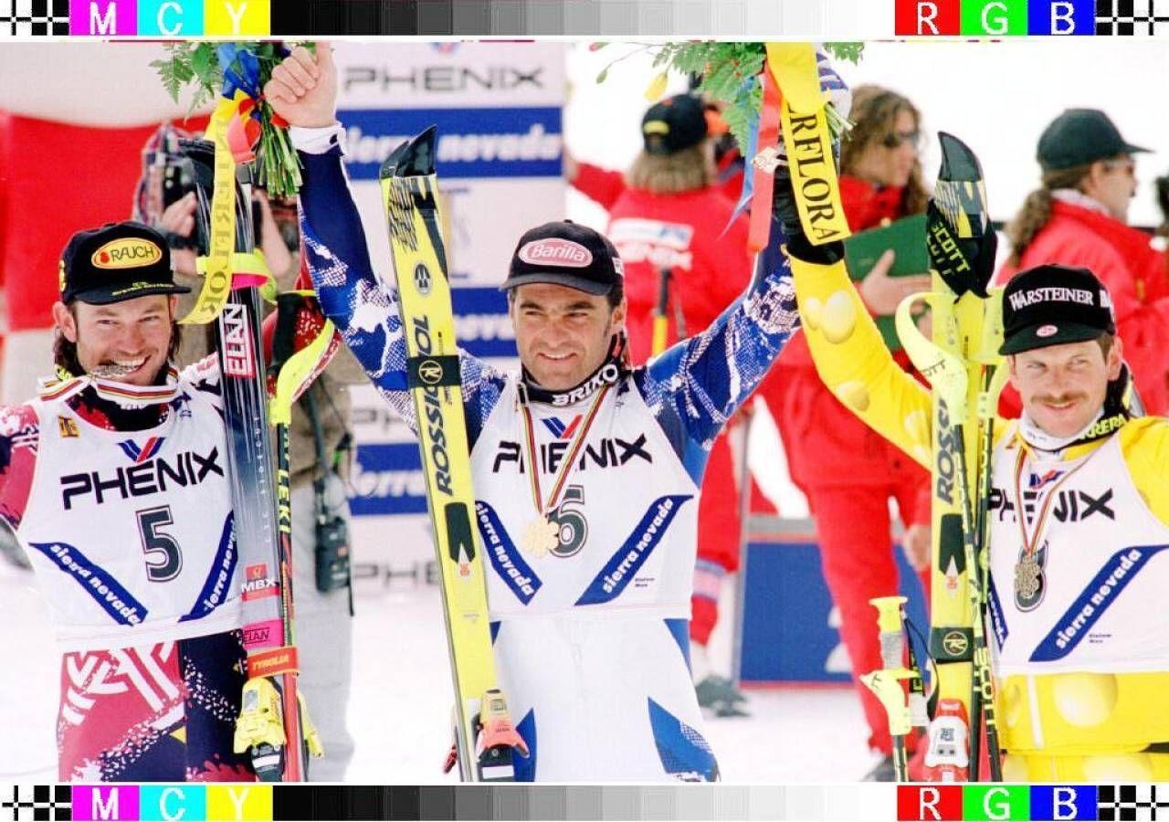 Alberto Tomba con Reiter e Von Gruenigen ai Mondiali di Sierra Nevada