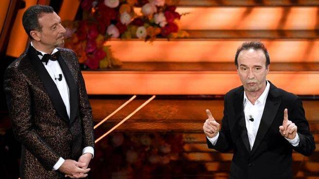 Amadeus e Roberto Benigni (Ansa)