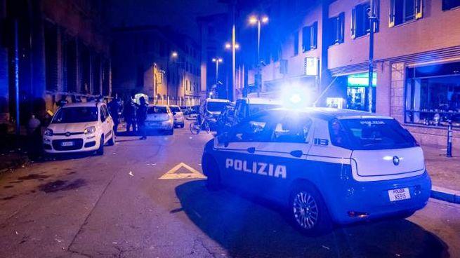 La polizia in servizio in centro