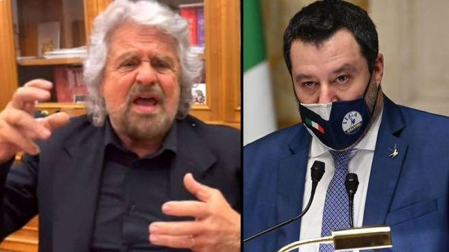 Beppe Grillo e Matteo Salvini (Ansa)