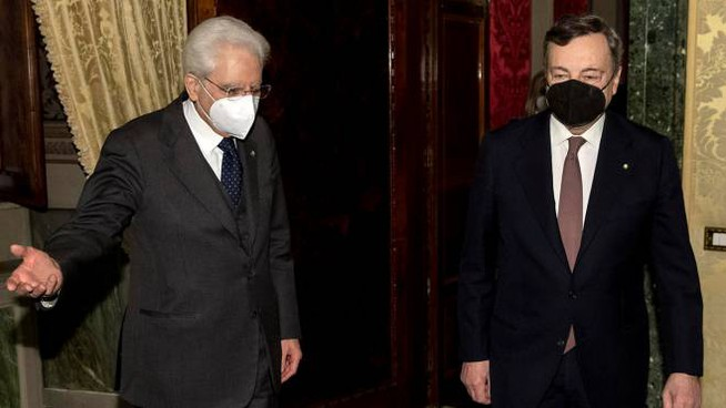 Sergio Mattarella e Mario Draghi (Ansa)