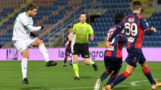 Il gol di Berardi del momentaneo vantaggio del Sassuolo