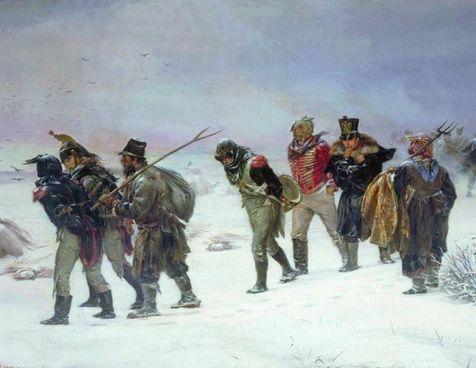 La ritirata della Grande Armée dalla Russia in un dipinto di Illarion Mikhailovich Pryanishnikov del 1874
