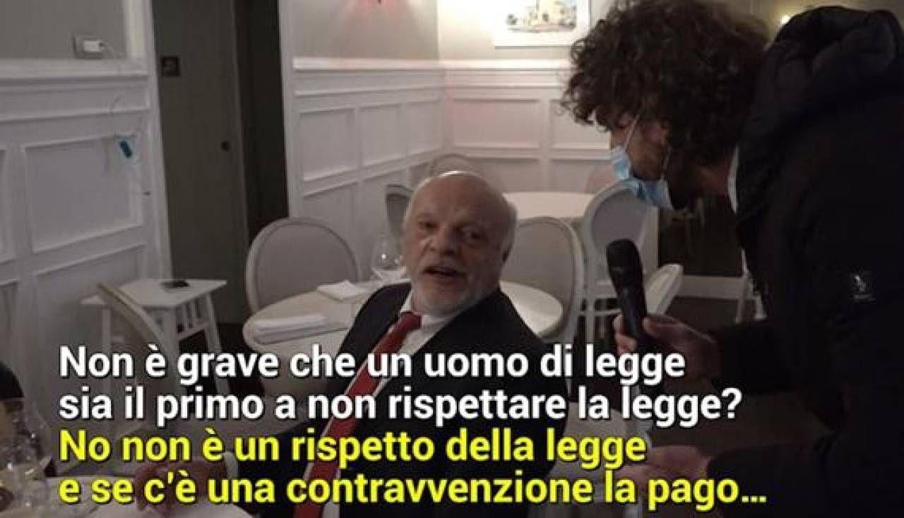 Il servizio de Le Iene con il giudice Nunzio Sarpietro, 68 anni, in un ristorante romano il 28 gennaio nonostante la zona arancione