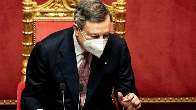Mario Draghi in Senato (Ansa)